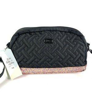 Lug Crossbody Bag Punter Black Roses Shimmer RFID